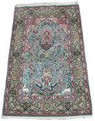 Wandteppich. Persien, Nain ca. 1960. Sammlerstück. Grüngrundig auf Korkwolle und Seide. Bez