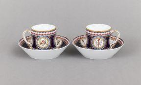 Paar RAYNAUD & Co. LIMOGES Tassen mit Untertassen