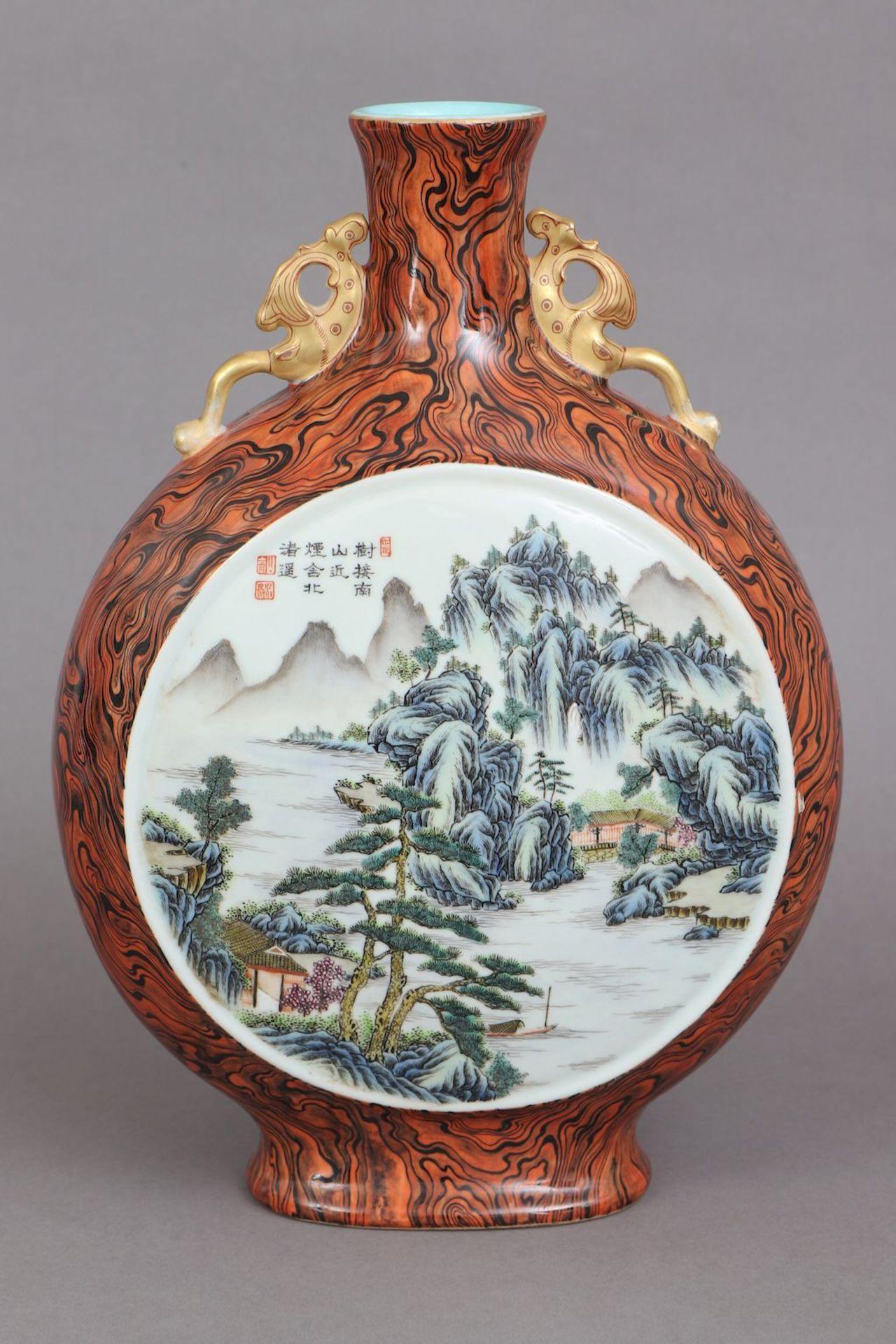 Chinesische Vase in Pilgerflaschen-Form - Image 2 of 5