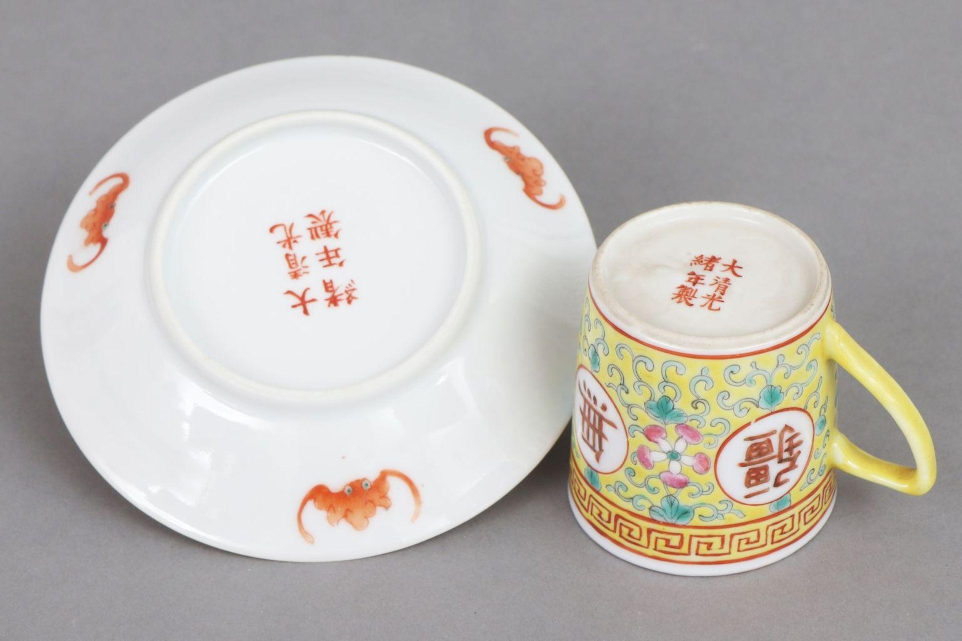 6 chinesische Tassen mit Untertassen - Bild 5 aus 6