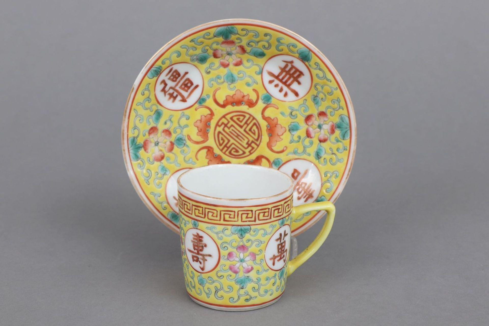 6 chinesische Tassen mit Untertassen - Bild 2 aus 6