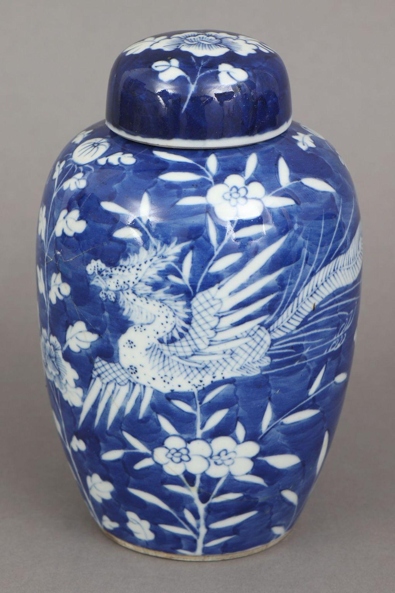 Chinesiches Deckelgefäß mit Blaumalerei ¨Drache und Phönix¨