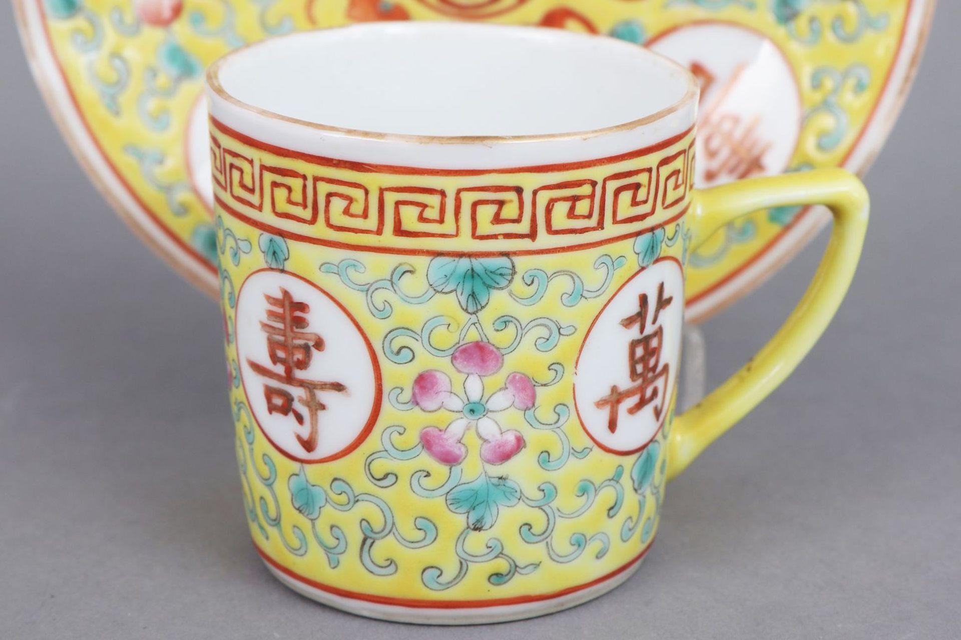6 chinesische Tassen mit Untertassen - Bild 4 aus 6