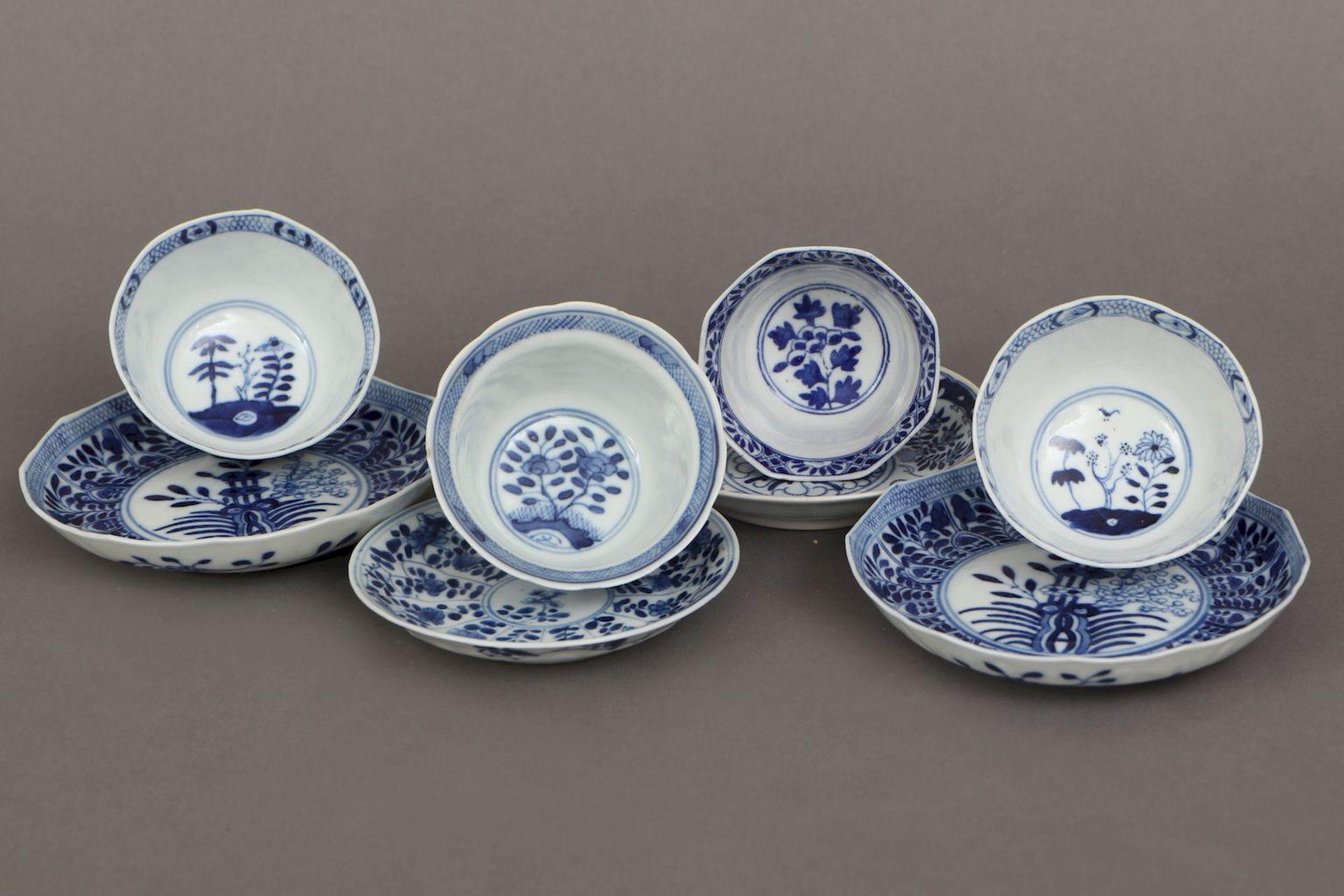 4 chinesische Koppchen mit Untertassen - Image 3 of 5