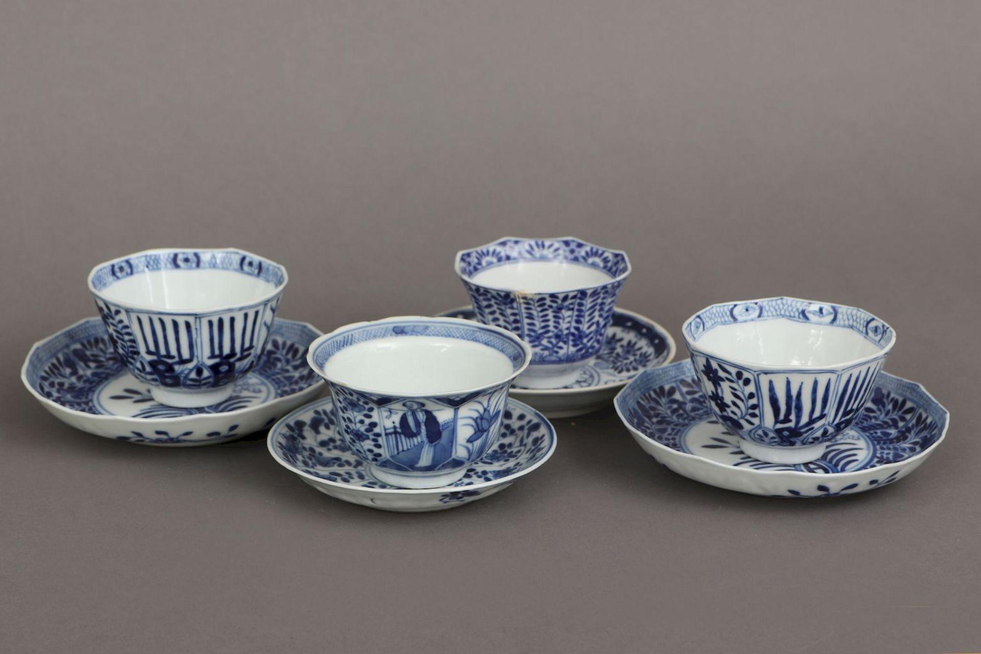 4 chinesische Koppchen mit Untertassen - Image 2 of 5