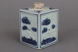Chinesische Teedose mit Blaumalerei