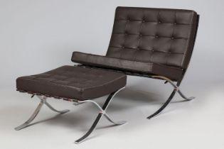 Sessel mit Ottomane im Stile des Bauhaus