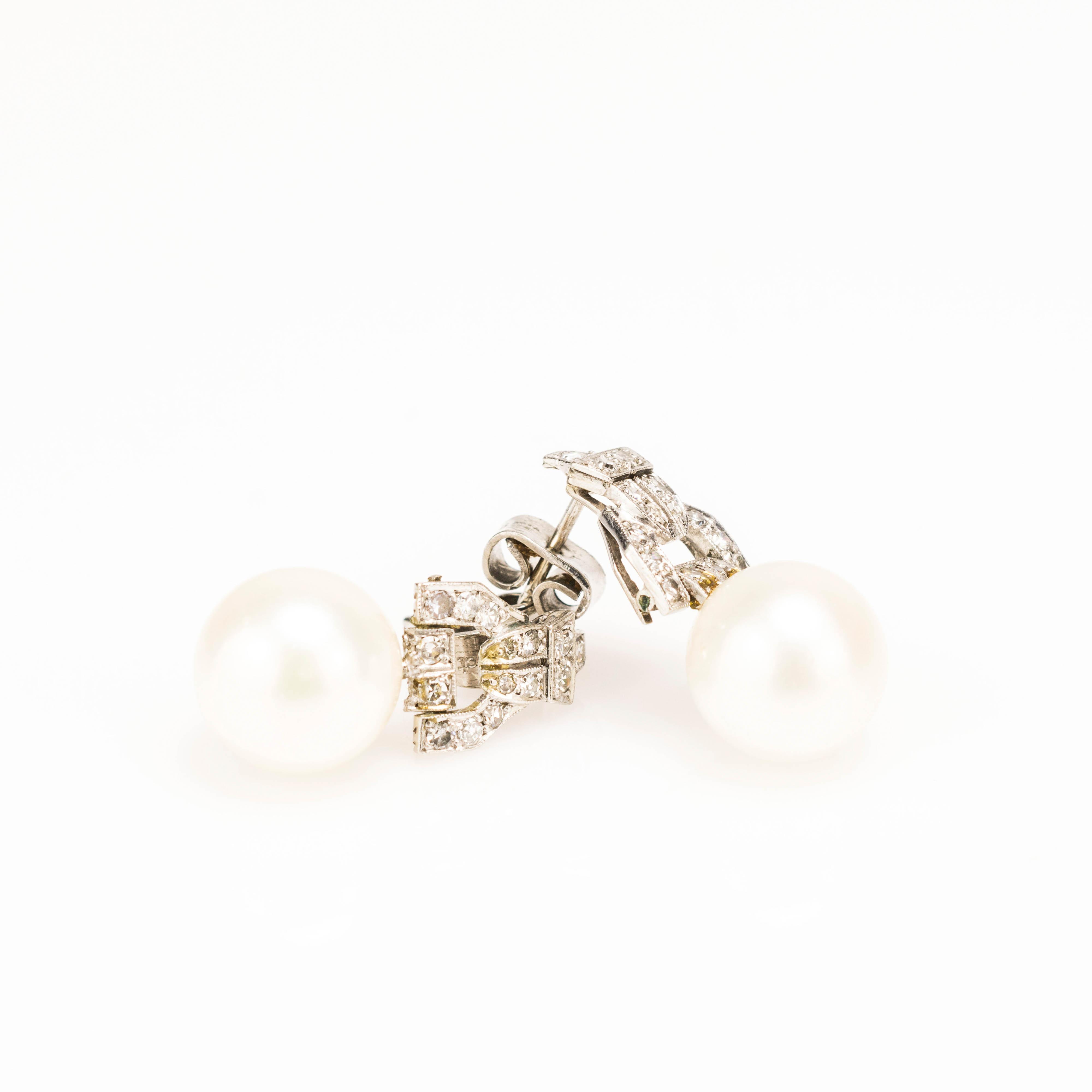Paar Ohrstecker mit Perlen und Diamantbesatz im Art déco-Stil - Image 2 of 3