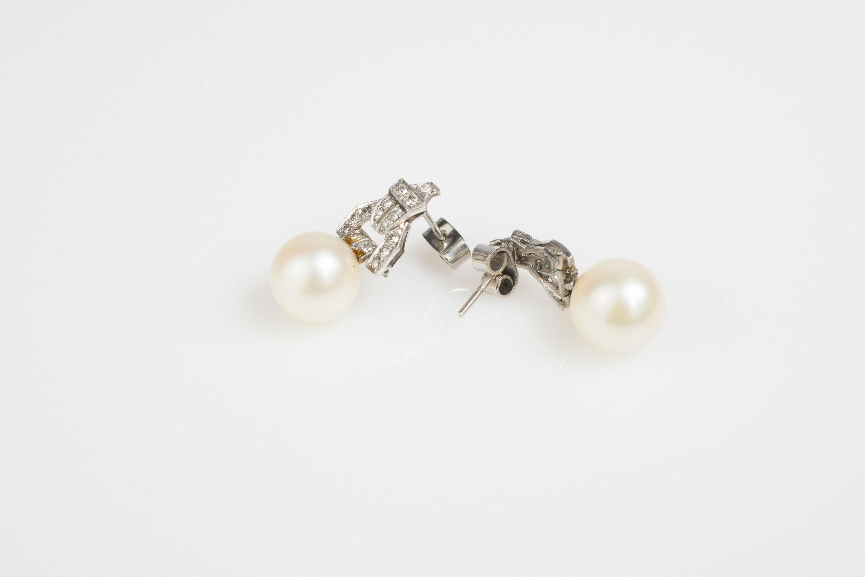 Paar Ohrstecker mit Perlen und Diamantbesatz im Art déco-Stil - Image 3 of 3