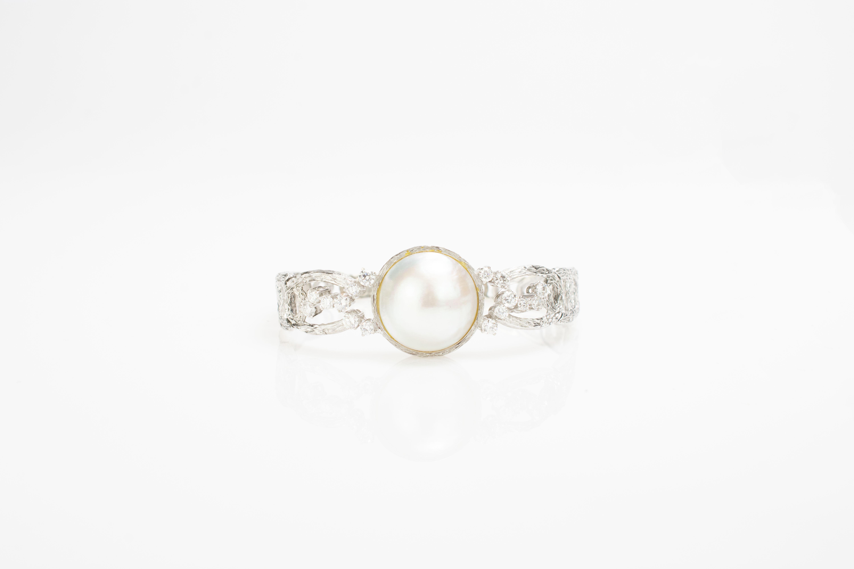 Schmuckset mit Mabé-Perlen und Brillantbesatz - Image 2 of 4