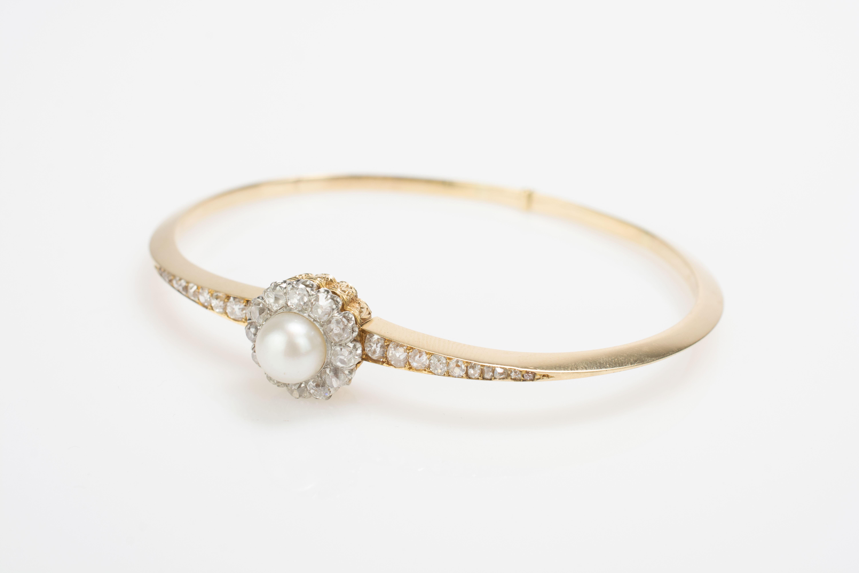 Armreif mit zentraler Perle und Diamantbesatz - Image 2 of 4