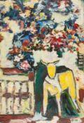 Abstrakte Komposition mit Kuh und Blumen