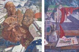 Paar Gemälde mit historischen Motiven