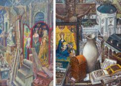 Paar Gemälde mit mittelalterlichen Motiven