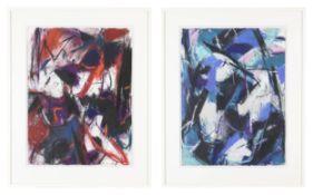 2-tlg., paar abstrakte Kompositionen