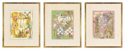 3-tlg., Abstrakte Kompositionen