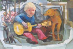 Junge mit Gitarre, Katze und Hund