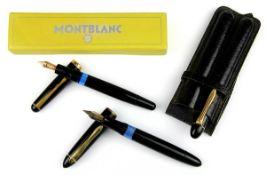 3 Füller Montblanc, Pelikan und Geha: Montblanc Kolbenfüller Nr. 342, um 1960, mit Goldfeder 14 kt