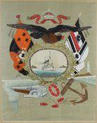 Reservisten - Stickbild, China/Japan 1905, Deutsches Kaiserreich, aus der Zeit des
