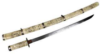 Wakizashi mit Griff und Scheide aus Bein, Japan 19. Jh., Tsuba und Kashira aus Silber, Habaki aus