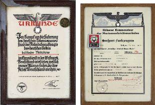 Zwei Urkunden u. 2 Plaketten, Deutsches Reich 1933 - 1945: Urkunde Westmark, Zum Kampf um die