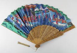 Chinesischer Fächer aus Papier mit figürlichen Szenen, China um 1900, Faltfächer aus Papier