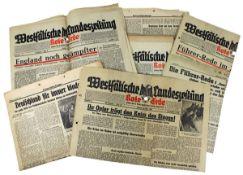 Neun Zeitungen bzw. Zeitungsauschnitte, Deutsches Reich 1933 - 1945, Zeitungen aus den Jahren 1941