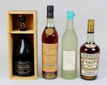 Vier Flaschen Cognac, Frankreich 2. H. 20. Jh.: Cognac Denis - Mounié, Fine Champagne V.S.O.P.,
