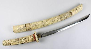 Japanisches Samurai-Wakizashi-Schwert, Japan um 1920, Griff und Scheide aus Bein und Elfenbein,