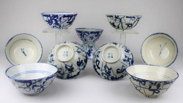 10 Chinesische Reisschalen, Song-Zeit, 12.-13. Jh., Porzellan, weißer Scherben, frei getöpfert,