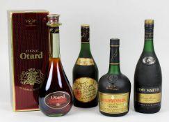 Vier Flaschen Cognac, Frankreich 2. H. 20. Jh.: Cognac Otard V.S.O.P., Fine Champagne, Château de