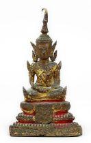 Siamesischer Bronze-Buddha, 19. Jh., Bronzekorpus, Guss in verlorener Form, meditierender Mönch im