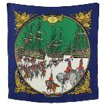 "Seidentuch, Hermes, Paris 2. H. 20. Jh., ""Marine et Cavalerie, 2 Pluviose An III 1795"", blauer"