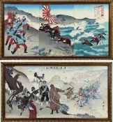 Paar Farbholzschnitte zum Russisch - Japanischen Krieg, Japan um 1905/1906, jeweils 3 teilig, mit