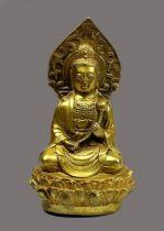 Chinesischer Buddha, 19. Jh., Bronze vergoldet, Buddha im Lotussitz auf Lotusblütensockel, in mediti