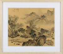 Chinesisches Landschaftsaquarell auf Seide, 19. Jh., in Grautönen und zartem Rot auf beigen Seidengr
