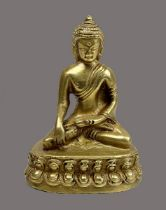 Kleiner Buddha, Himalaya, 19. Jh., Bronze vergoldet, Buddha im Lotussitz auf Lotusblütensockel, Gest