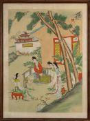 Chinesisches Seidenbild, Damen im Garten, fein auf Seide gemalt, re. o. signiert, im seidenen Passep