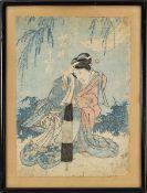 Utagawa Kunisada (Japan 19. Jh.), Dame mit geschlossenem Schirm im Garten, Farbholzschnitt auf Japan