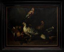 Tierstilllebenmaler in der Art des Melchior De Hondecoeter, Anfang 17. Jh., Geflügel u. Papagei mit