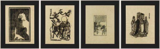 Vier Holzschnitte, China um 1900, verschiedene Motive, wohl auf dünnem Pergamentpapier, etwas wellig
