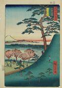Hirokage, Utagawa (tätig um 1855 - 1865), Landschaft mit Personen u. Blick auf den Fuji, Farbholzsch