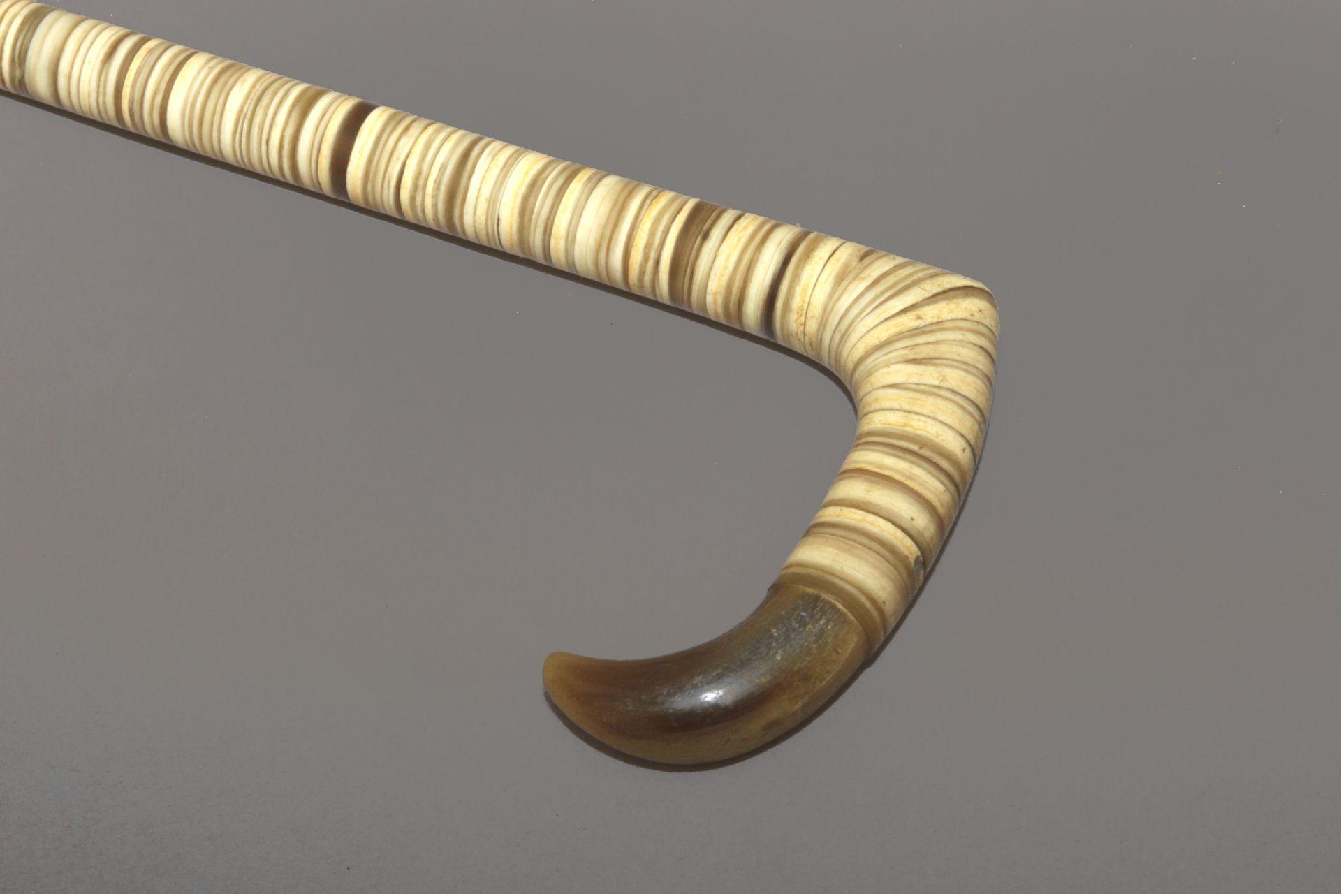 A horn and antler sample walking stick circa 1900
