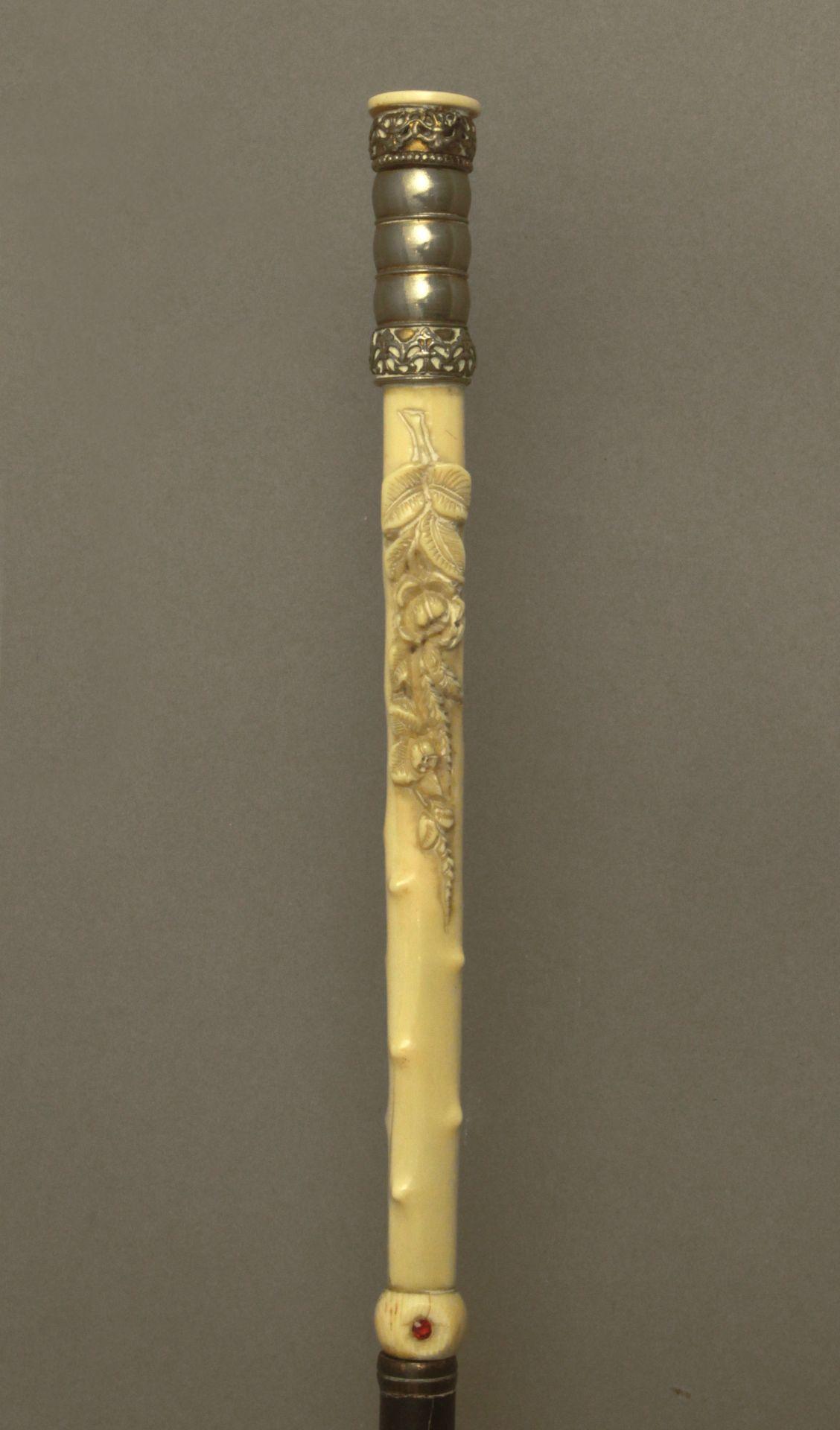 An ivory handled walking stick circa 1900