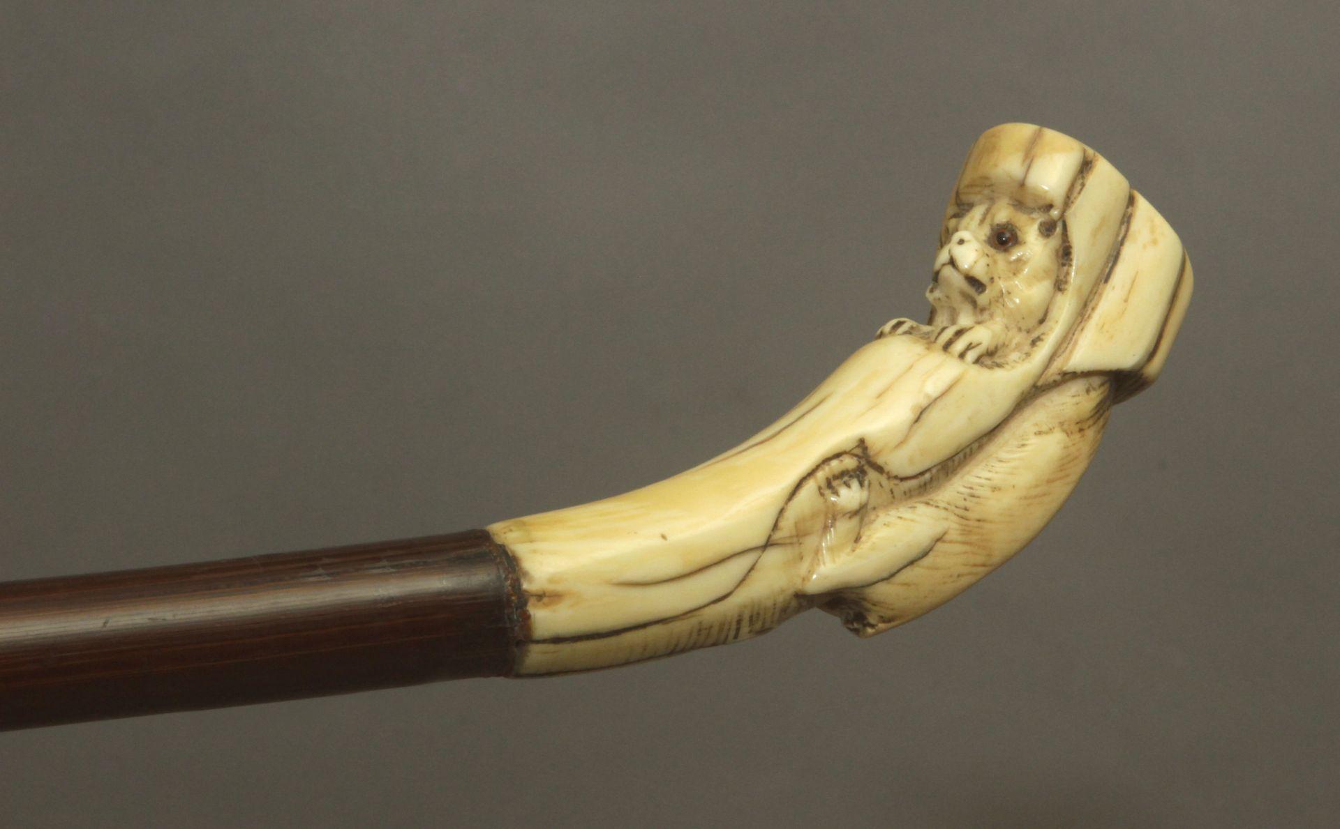 A 19th century ivory handled walking stick