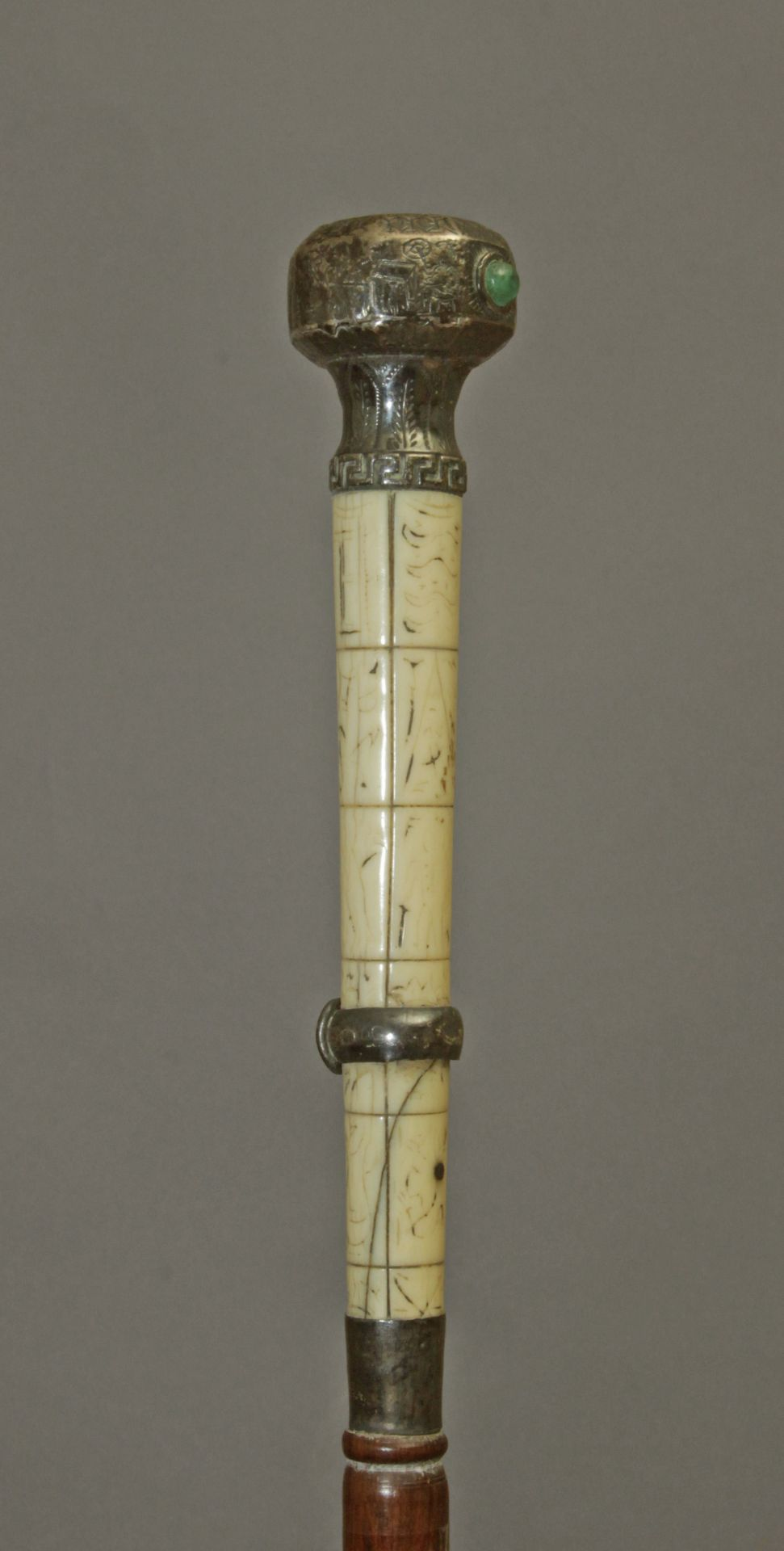 A 19th century Scottish silver and ivory handle dress cane