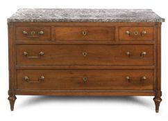 Las quarter of 18th century Louis XVI walnut chest of drawers