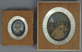 A pair of 19th century Italian portrait miniatures