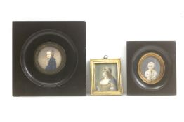 A collection of three portrait miniatures