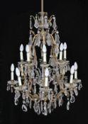 A first half 20th century 16 light Versailles style chandelier